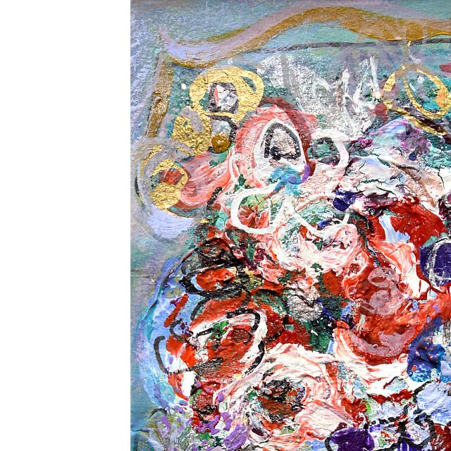 平林美奈子 絵画 窓辺の風 ミクストメディア 2号 部分拡大(左上)