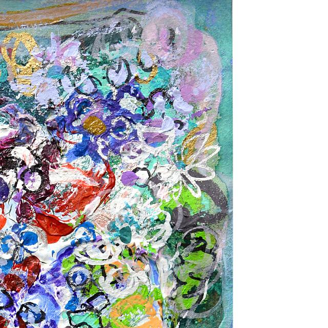 平林美奈子 絵画 窓辺の風 ミクストメディア 2号 部分拡大(右上)