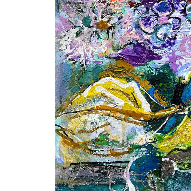 平林美奈子 絵画 窓辺の風 ミクストメディア 2号 部分拡大(左下)