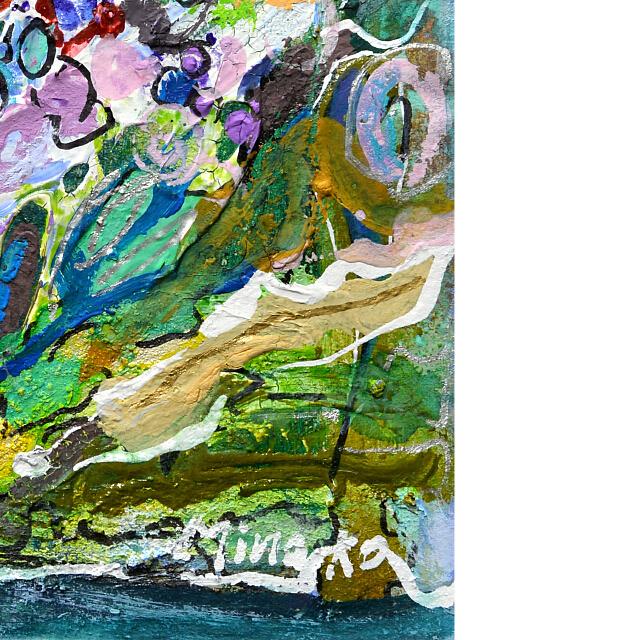 平林美奈子 絵画 窓辺の風 ミクストメディア 2号 部分拡大(右下)