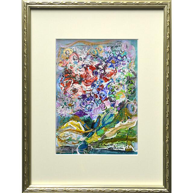 平林美奈子 絵画 窓辺の風 ミクストメディア 2号 額付き