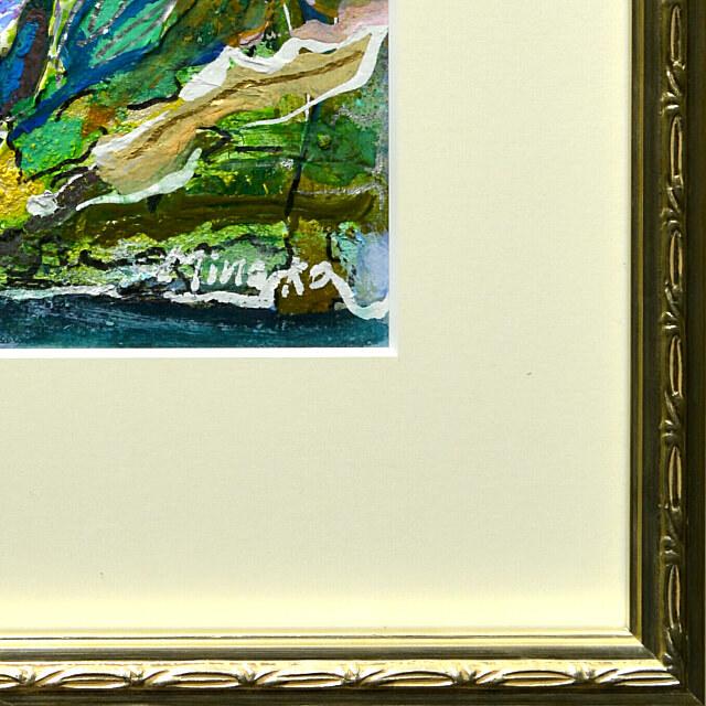 平林美奈子 絵画 窓辺の風 ミクストメディア 2号 額縁デザイン