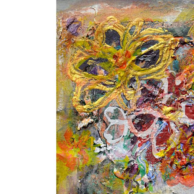 平林美奈子 絵画 まどかなる宙に咲いて ミクストメディア 2号 部分拡大(左上)