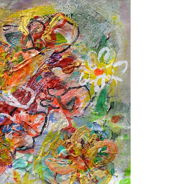 平林美奈子 絵画 まどかなる宙に咲いて ミクストメディア 2号 部分拡大(右上)