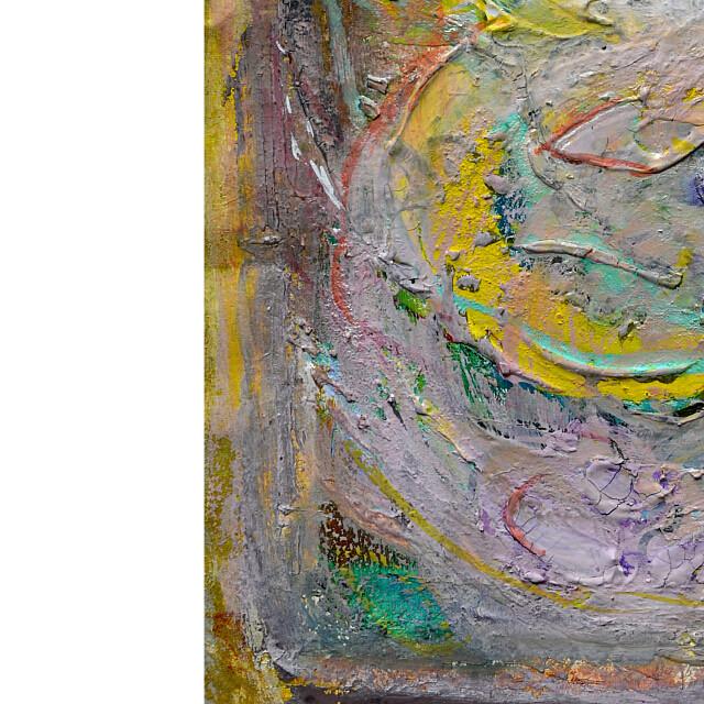 平林美奈子 絵画 まどかなる宙に咲いて ミクストメディア 2号 部分拡大(左下)