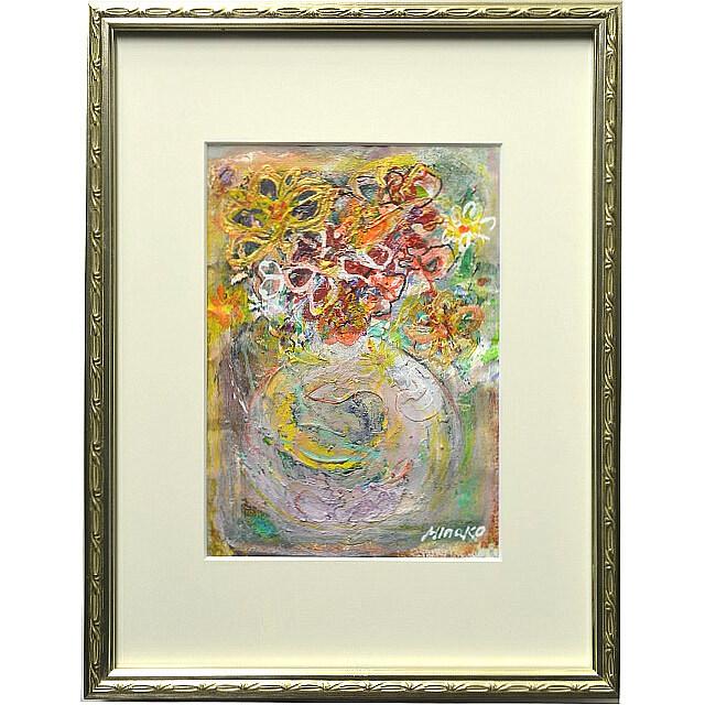 平林美奈子 絵画 まどかなる宙に咲いて ミクストメディア 2号 額付き