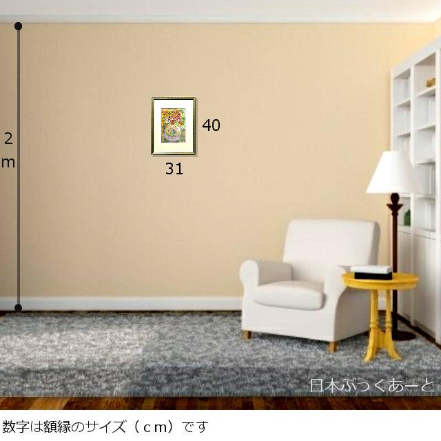 平林美奈子 絵画 まどかなる宙に咲いて ミクストメディア 2号 額縁サイズ