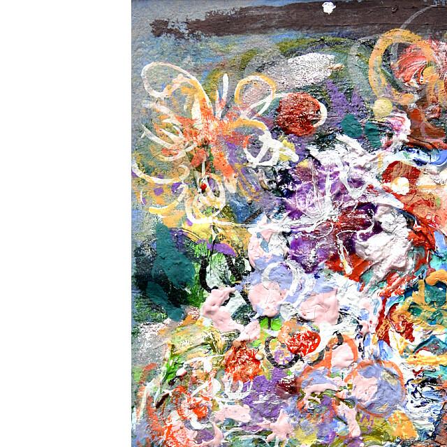 平林美奈子 絵画 メランコリー ミクストメディア 2号 部分拡大(左上)