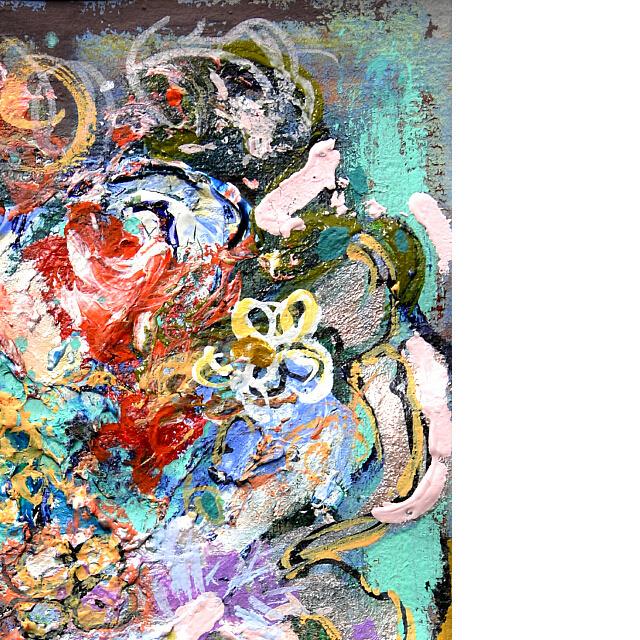 平林美奈子 絵画 メランコリー ミクストメディア 2号 部分拡大(右上)