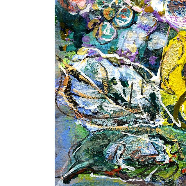 平林美奈子 絵画 メランコリー ミクストメディア 2号 部分拡大(左下)
