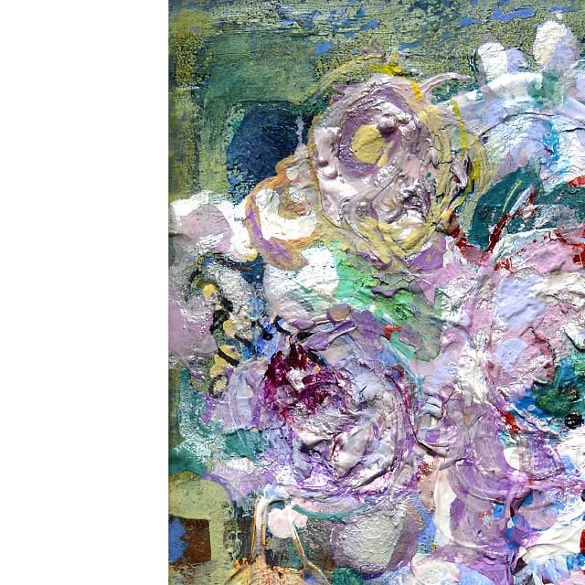 平林美奈子 絵画 溶けて ミクストメディア 2号 部分拡大(左上)