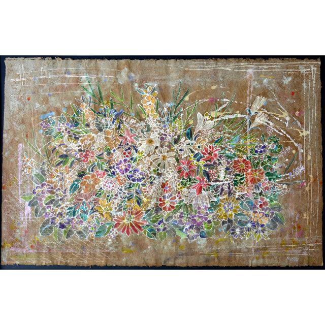 平林美奈子 絵画 和 ミクストメディア 30号