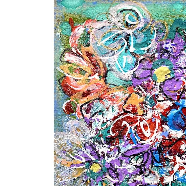 平林美奈子 絵画 私の側に飾られてⅡ ミクストメディア 2号 部分拡大(左上)