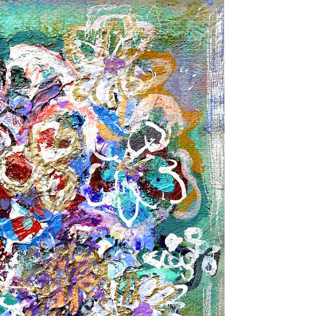 平林美奈子 絵画 私の側に飾られてⅡ ミクストメディア 2号 部分拡大(右上)