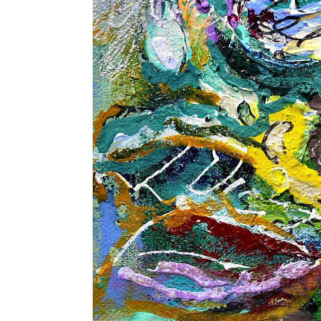 平林美奈子 絵画 私の側に飾られてⅡ ミクストメディア 2号 部分拡大(左下)