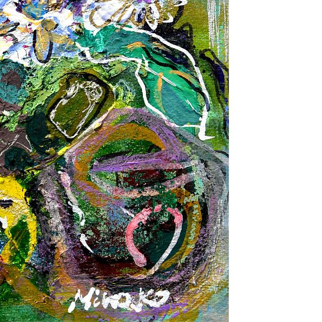 平林美奈子 絵画 私の側に飾られてⅡ ミクストメディア 2号 部分拡大(右下)
