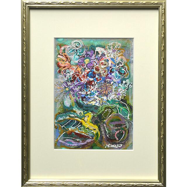平林美奈子 絵画 私の側に飾られてⅡ ミクストメディア 2号 額付き