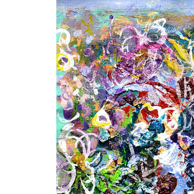 平林美奈子 絵画 柔らかい雨に ミクストメディア 2号 部分拡大(左上)