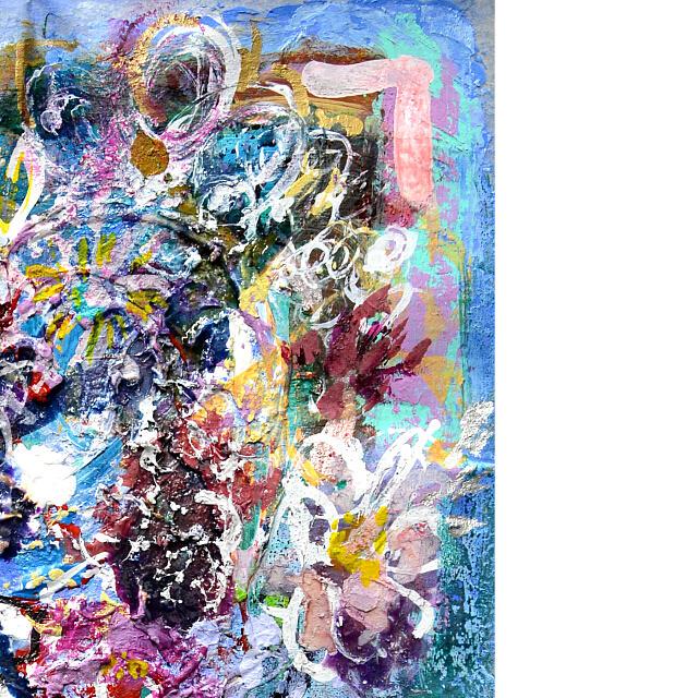 平林美奈子 絵画 柔らかい雨に ミクストメディア 2号 部分拡大(右上)