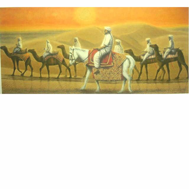平山郁夫 アフガニスタンの砂漠を行く・日 喜寿記念リトグラフ