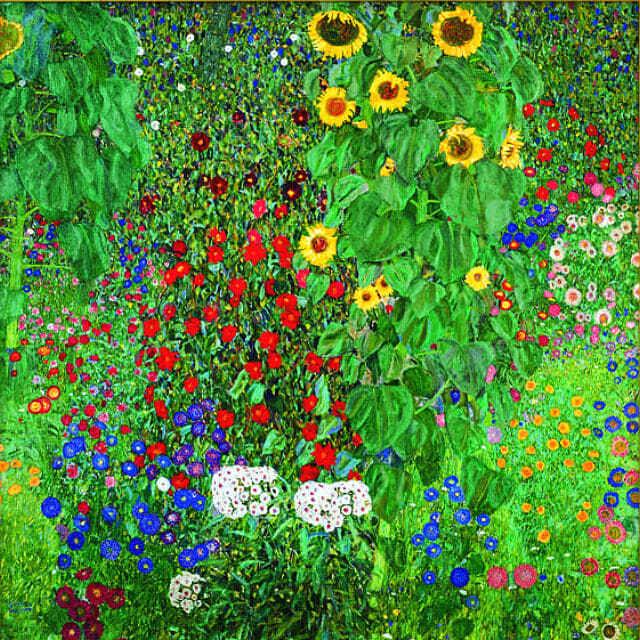 クリムト「ヒマワリの咲く農家の庭」 原画所蔵・ベルベデーレ宮殿(オーストリア・ウイーン)公式認定を受けて制作された複製画