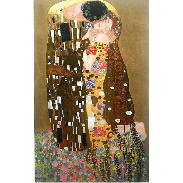 グスタフ・クリムト(Gustav Klimt)「接吻(Kiss)」ジクレ・シルクスクリーン 額縁ベージュ色