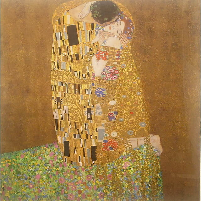 グスタフ・クリムト(Gustav Klimt) 「接吻(Kiss)」 シルクスクリーン  正方形