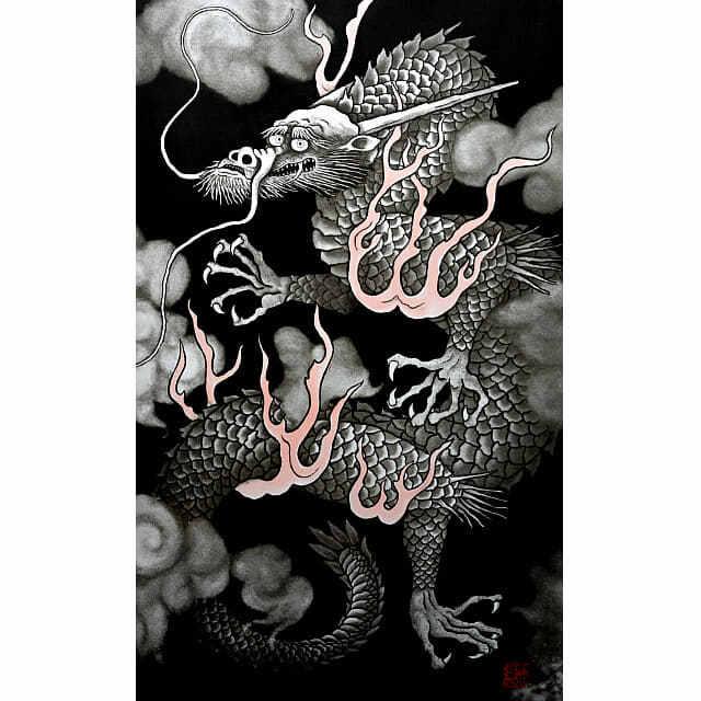 小泉淳作「雲龍」銅版画。5本爪の黒龍の作品。炎の赤い部分は手彩色。