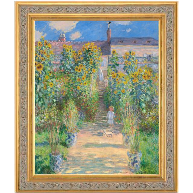 モネ 「ヴェトゥイユのモネの庭」 複製画 彩美版 シルクスクリーン手刷り ハンドメイド金箔額付き