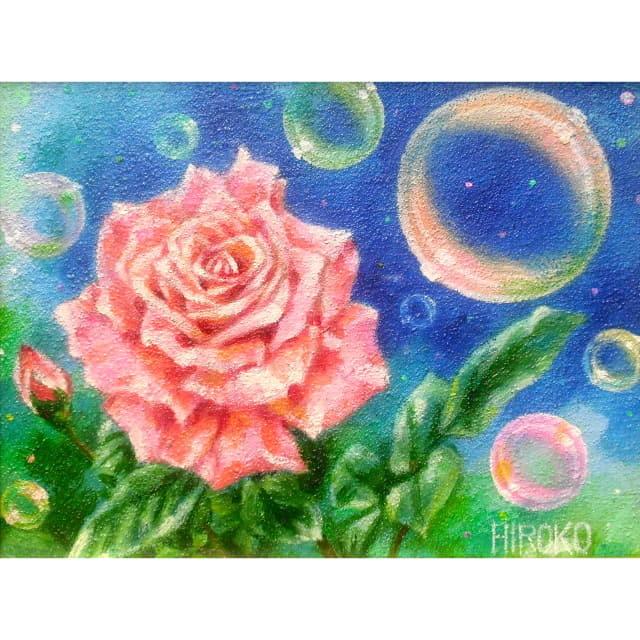 森谷紘子 油彩 バラの花の絵
