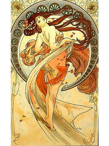 ミュシャ ダンス 四芸術シリーズ リトグラフ 複製版画