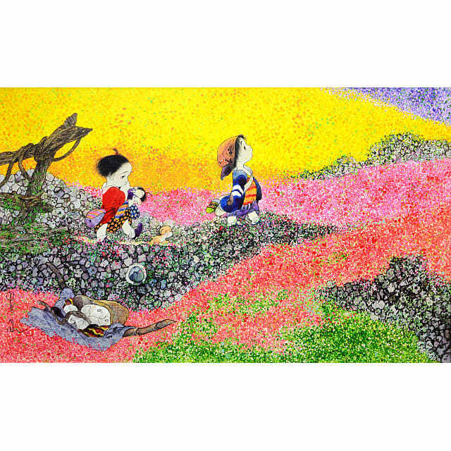 中島潔「風輝く」。子供ふたり、子犬のうめ吉。黄色、赤、ピンクに埋め尽くされた花畑に立つ。