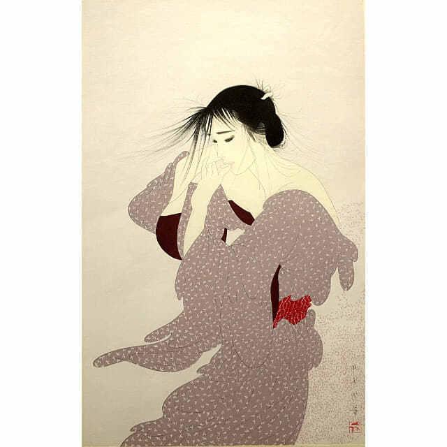 中島潔「風もよう」。かぜになびく女性のおくれ毛。桜の花びらが舞う。