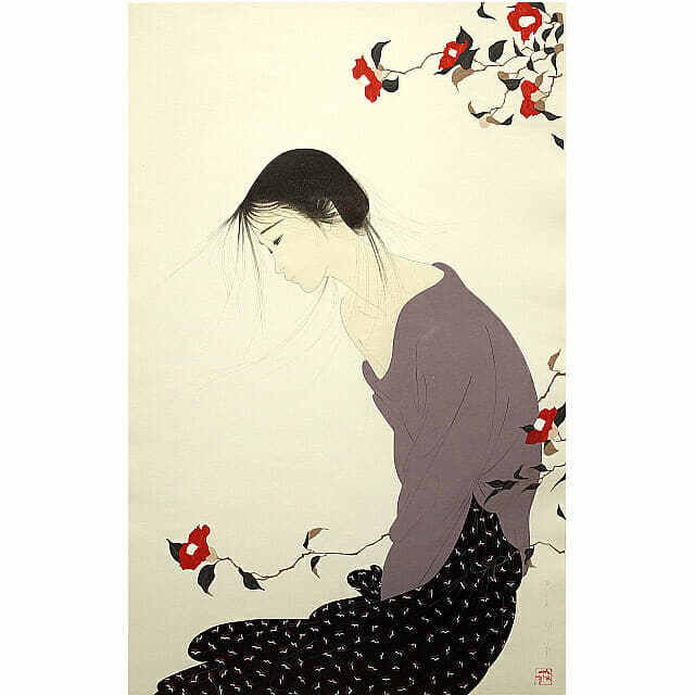 中島潔「風のかおり」。やわらかな風に身をまかせて立つ女性。木には赤い花が咲いている。