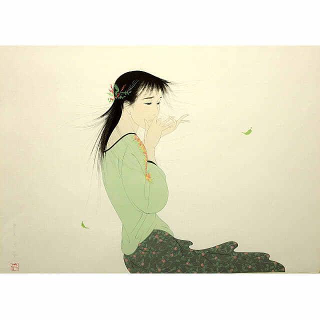 中島潔「風の想い」。長い髪の女性。風に若葉が舞う。女性の目線と口元の手に切なさが漂う。