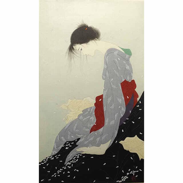 中島潔「恋文」。右手には、くしゃくしゃになった手紙。悲しそうにうつむく女性。花びらが落ちている。