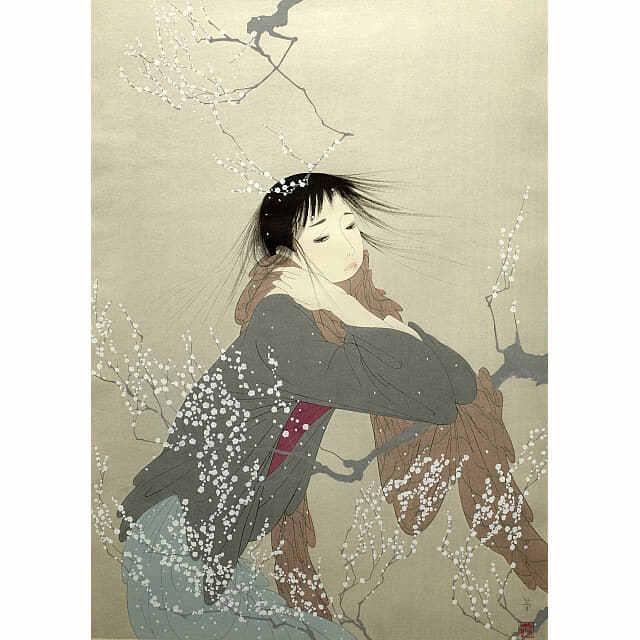 中島潔「夢もよう」。梅の木にほおずえをつく女の子。