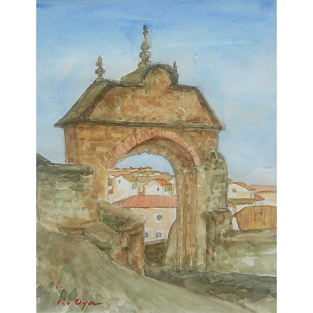 大矢邦昭の水彩、アンテケーラの城門。アンダルシア地方の街。歴史ある門と白い壁の家々。