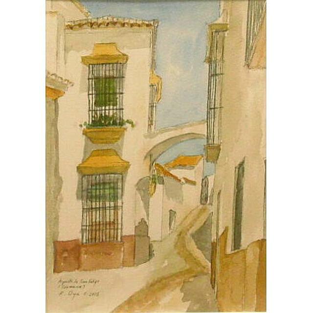 大矢邦昭の水彩、アーチ。スペイン南部・カルモーナの旧市街。白壁の家には、砦のなごりの橋がかかっている。