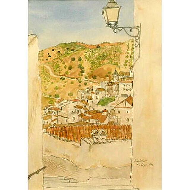 大矢邦昭の水彩、アルマチャール。南スペインの山間の村。階段の下に白い家々が立ち並んでいる。