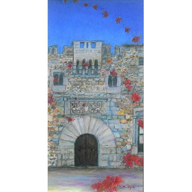 大矢邦昭の絵、ブーゲンビリアのラッパ。スペインの要塞都市アビラの宮殿。青空に舞うブーゲンビリアの花々。