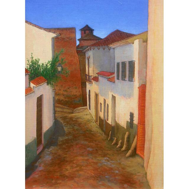 大矢邦昭の油絵、晴朗のグラナダ。スペインの空の下、白壁の家が立ち並ぶ。路地裏の風景。。