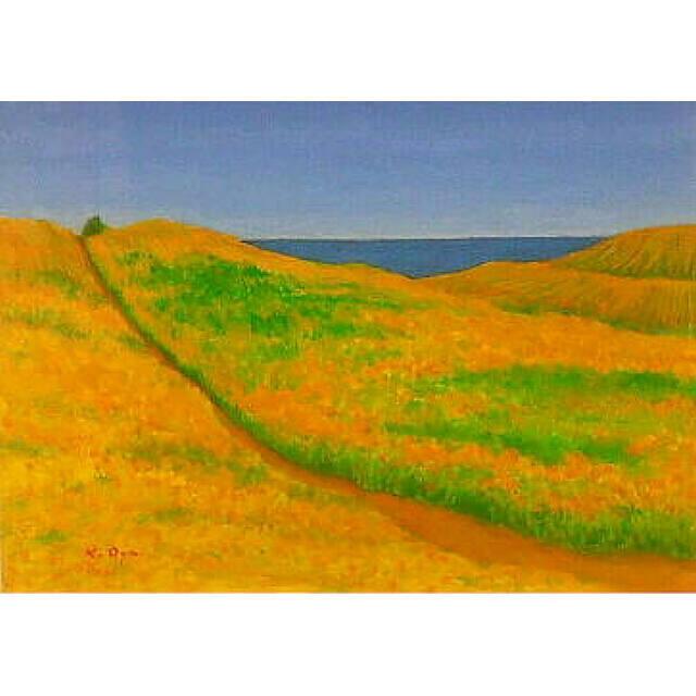 大矢邦昭の油絵、ひまわりと海。黄金に輝くひまわり畑。細いみちの向こうには紺碧の海。