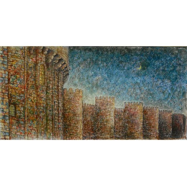 大矢邦昭の絵、城壁と月。スペイン・アビラの街。薄暗闇に浮かび上がる茶色の城壁。輝く月光に照らされている。