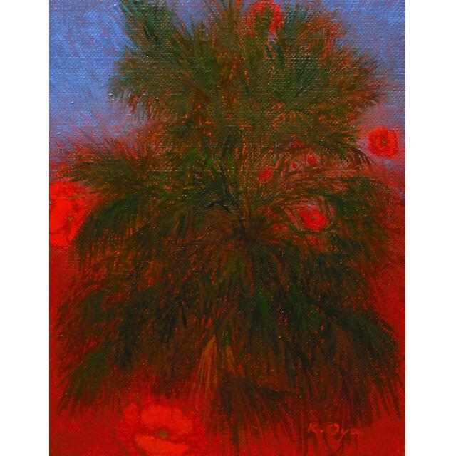 大矢邦昭の油絵、椰子の木とひなげし。スペインの空の青とひなげしの赤。緑の椰子の木の周りを花々が宙を舞う。
