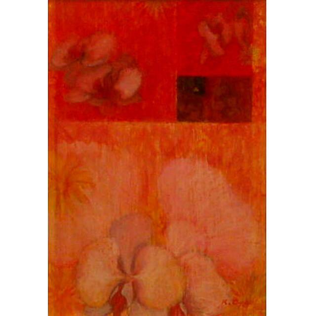 大矢邦昭の絵、蘭舞。赤い背景に大きく描かれた蘭の花。フィボナッチの螺旋を描き優雅に宙を舞っている。