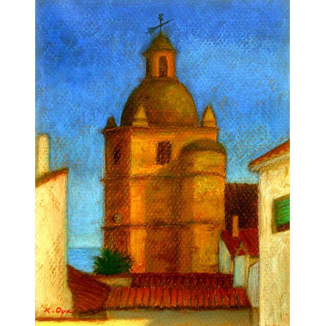 大矢邦昭の絵、海の見える聖堂。スペイン南部・イジョラのエンカルナシオン教会。塔の部分が描かれている。
