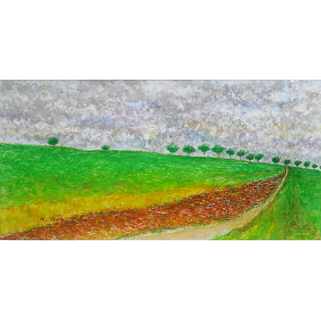 大矢邦昭の絵、行く道で。紫色の雲に覆われた空の下に広がる草原。赤土の小道が手前から奥へと続き木々が並ぶ。