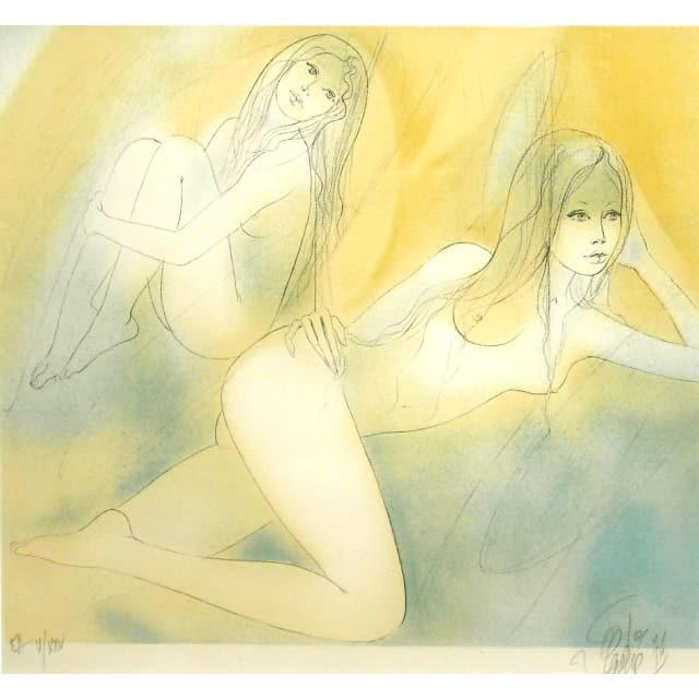 バラディエ Jean-Baptiste Valadie リトグラフ 二人の女