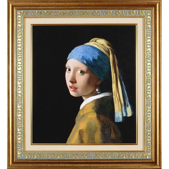 ヨハネス・フェルメール「真珠の耳飾りの少女」レプリカ・額付き 6号